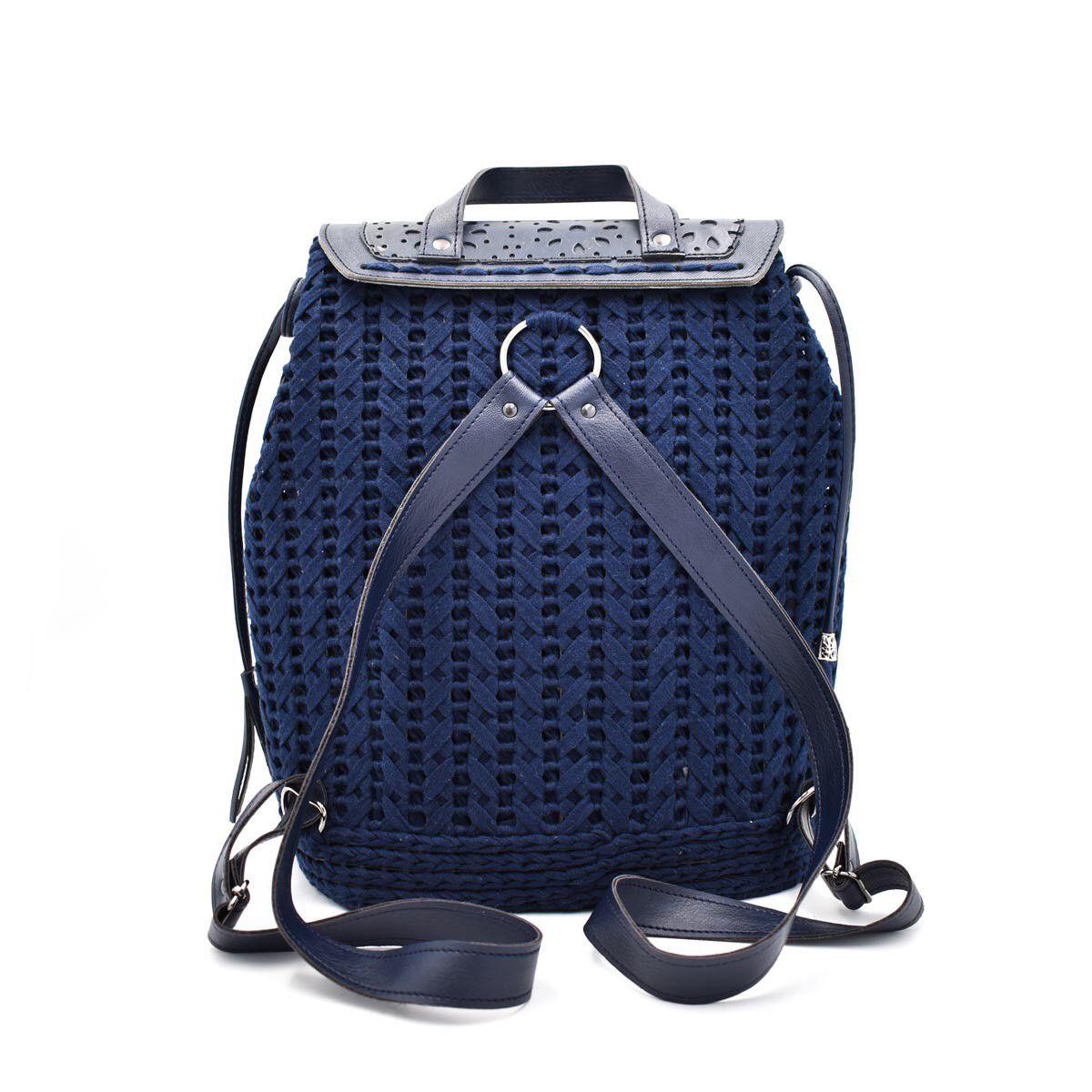 eb15ec5f70 Χειροποίητη πλεκτή τσάντα πλάτης Μπλέ - Idea Hellas